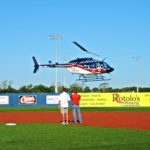 Baseball Day, 2016, Air Evac Lifeteam fly-in of ceremonial balls