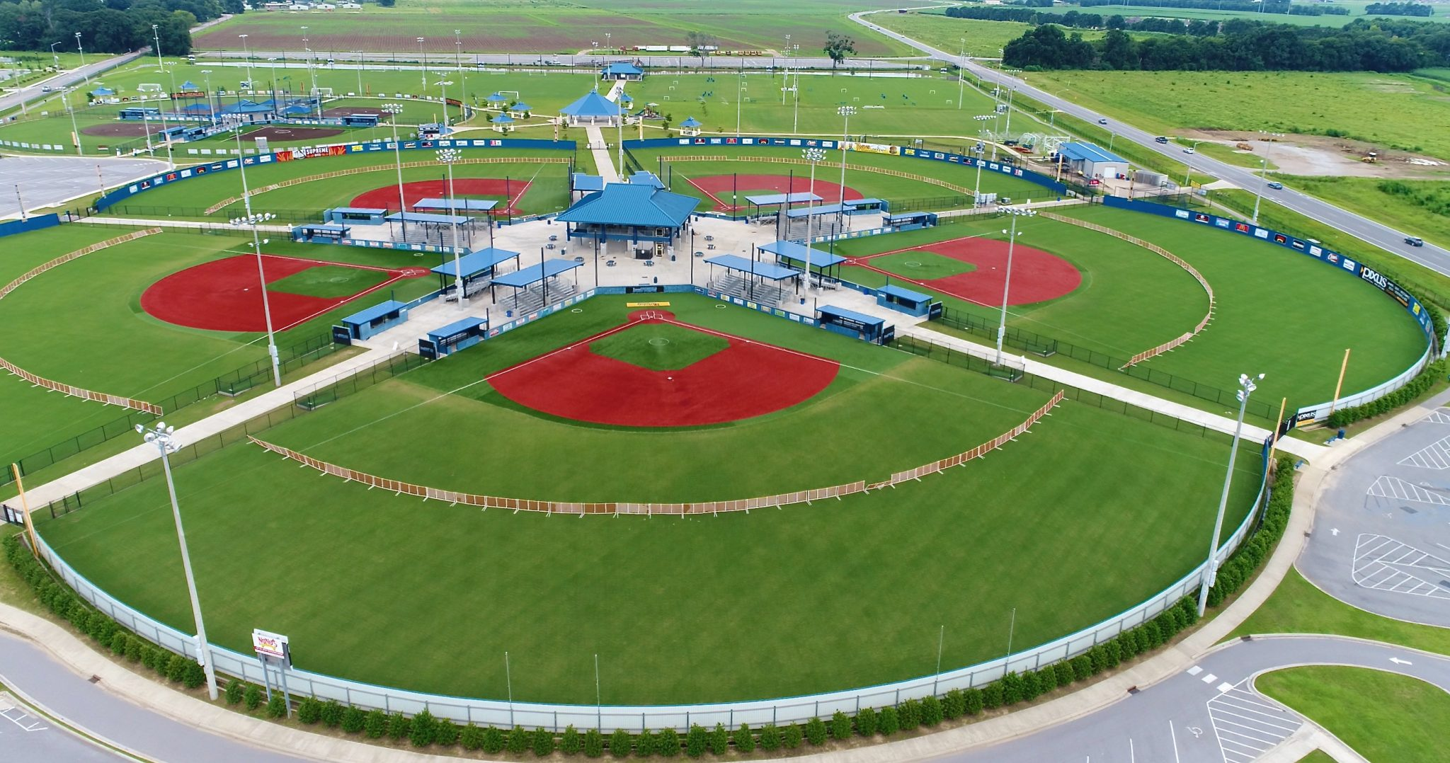 Aerial of Baseball Fields