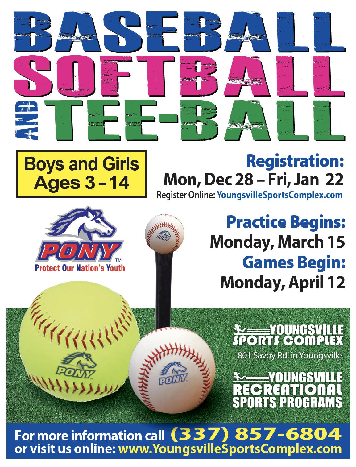 Register for the 2021 Baseball, Softball, & Tee-ball season!